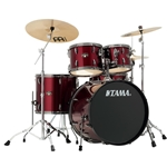Tama Imperialstar Vintage Red with Black Nickel Hardware 5pc Drum Kit with Cymbals