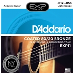 EXP11 D'Addario Coated 80/20 Bronze Acoustic Guitar Strings Light