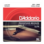 D'Addario EJ74 Phosphor Bronze Mandolin Strings Medium