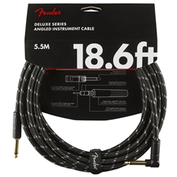 Fender Deluxe Instrument Cable (Straight - Right Angle), Tweed, 18.6'