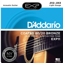 D'Addario EXP11 Coated 80/20 Bronze Acoustic Guitar Strings Light