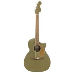 Fender Newporter Player Acoustic Electric Guitar, Olive Satin