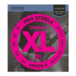 D'Addario EPS170-5 5-String ProSteels Bass Guitar Strings Long Scale, Light