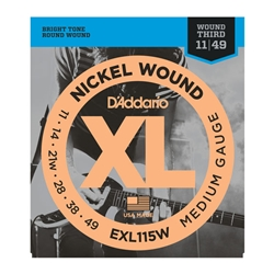 D'Addario EXL115W Nickel Wound Electric Guitar Strings Medium/Blues-Jazz Rock Wound 3rd